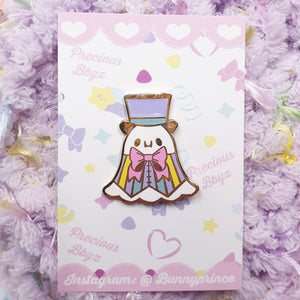 Pastel Dapper Ghost Hard Enamel Pin | Halloween Fairy Kei Inspired Pinstripe Fancy Ghost Enamel Pin by Precious Bbyz