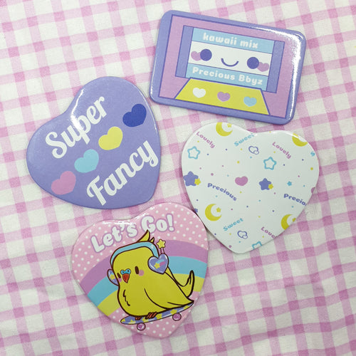 Fancy Pack Kawaii Precious Bbyz Pastel Buttons | Heart and Rectangle Fairy Kei Yume Kawaii pinback button badges by Precious Bbyz