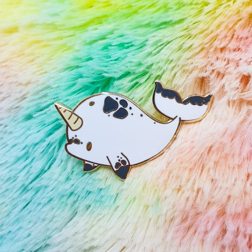 Baby Narwhal Hard Enamel Pin | Kawaii Narwhal Mermaid Inspired Fancy Hard Enamel Pin by Precious Bbyz