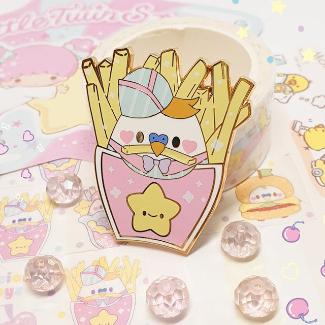 Smol Fry Birb Fries |  Pastel Fairy Kei Yume Kawaii Retro 80's Hard Enamel Pin by Precious Bbyz