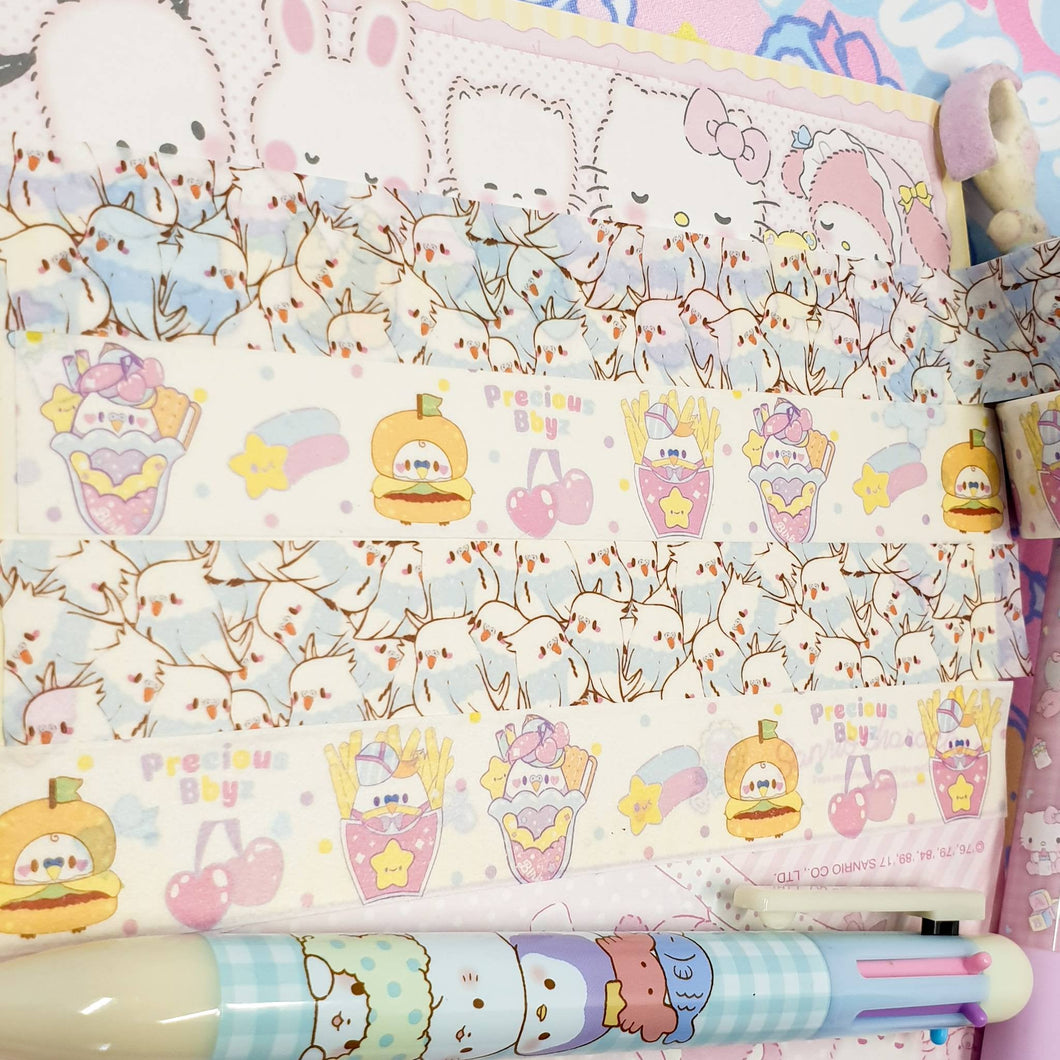 Fancy Birb Washi Tape- Two Designs | Kawaii pastel 80's Fairy Kei Retro Inspired Deco Tape by Precious Bbyz