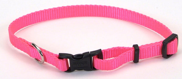 Coastal Adjustable Nylon Collar with Tuff Buckle Neon Pink 3-8X8-12in.