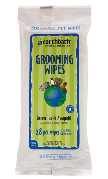 earthbath Grooming Wipes Green Tea 28ct.
