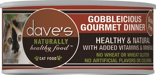 Daves Naturally Healthy Cat Food, Gobbleicious Gourmet Dinner Case of 24.