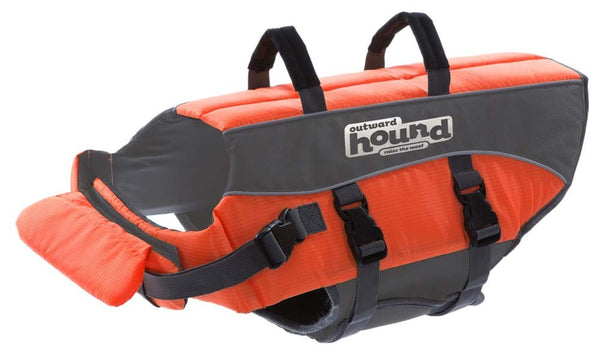 Outward Hound Outward Hound Ripstop Dog Life Jacket Life Preserver for Dogs, Medium, Orange.