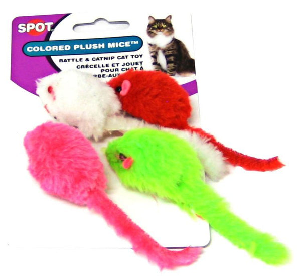 Spot Colored Plush Mice Cat Toys.
