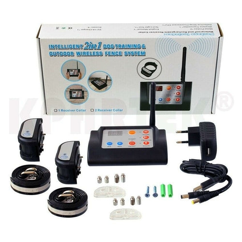 2 in 1   Wireless Electronic Dog Fence System and Dog Training Collar.