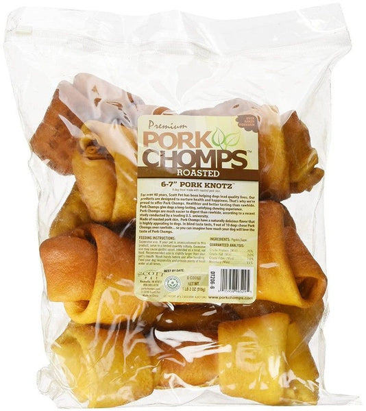 "Pork Chomps Premium Roasted 6-7"" Pork Knotz Bones"