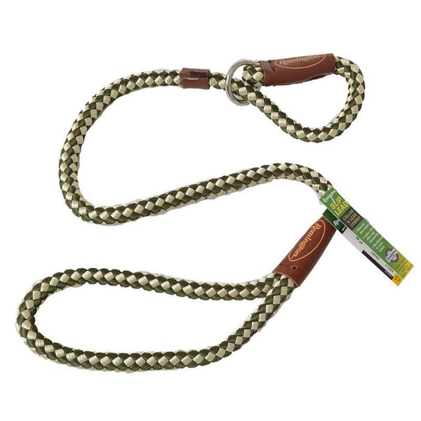 Remington Braided Rope Slip Lead Leash - Green & White.
