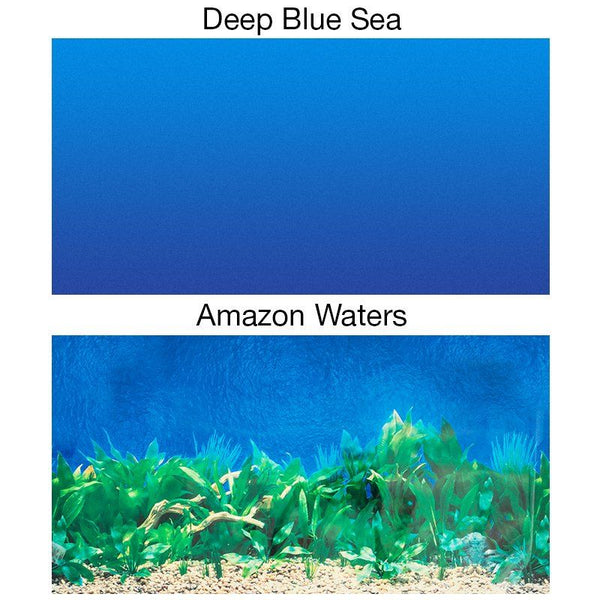 Penn Plax Double-Back Aquarium Background - Deep Blue Sea / Amazon Waters.