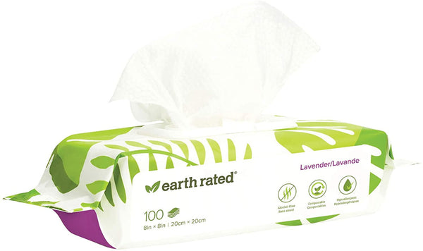 "Earth Rated Dog Wipes, Plant-based, Compostable Wipes for Dogs, USDA-Certified 99% Biobased, Hypoallergenic, 8x8"" Deodorizing Grooming Pet Wipes for Paws, Body and Butt"