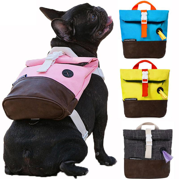Dog Harness Pet Puppy Backpack Breathable Adjustable Snack Bag.