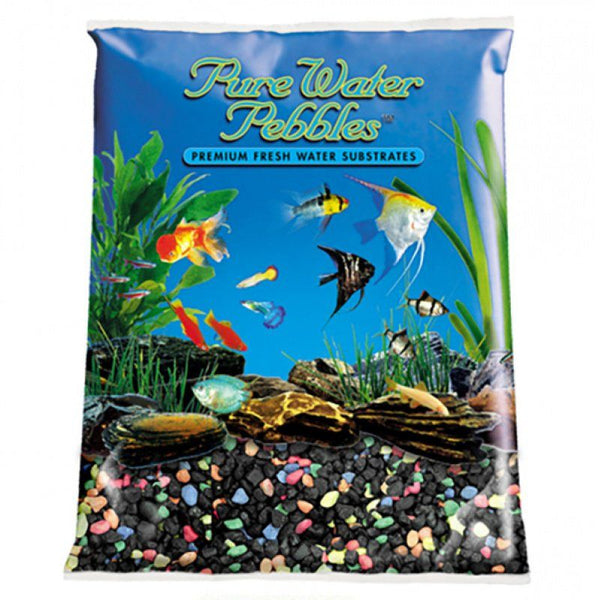 Pure Water Pebbles Aquarium Gravel - Black Beauty Pebble Mix.