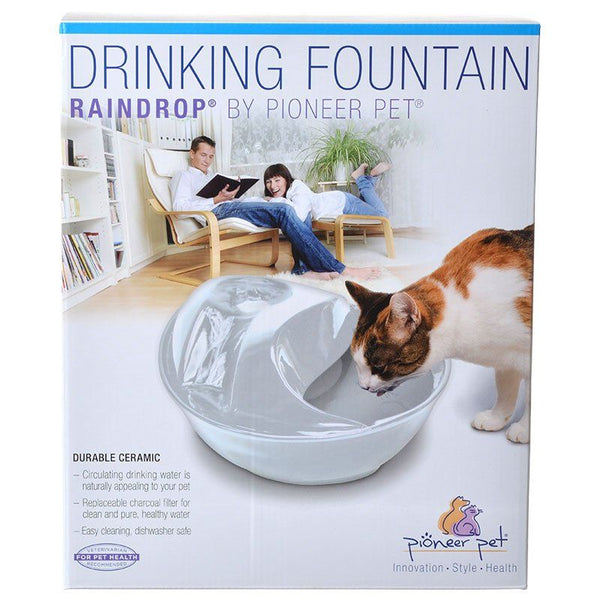 Pioneer Raindrop Ceramic Drinking Fountain - White.