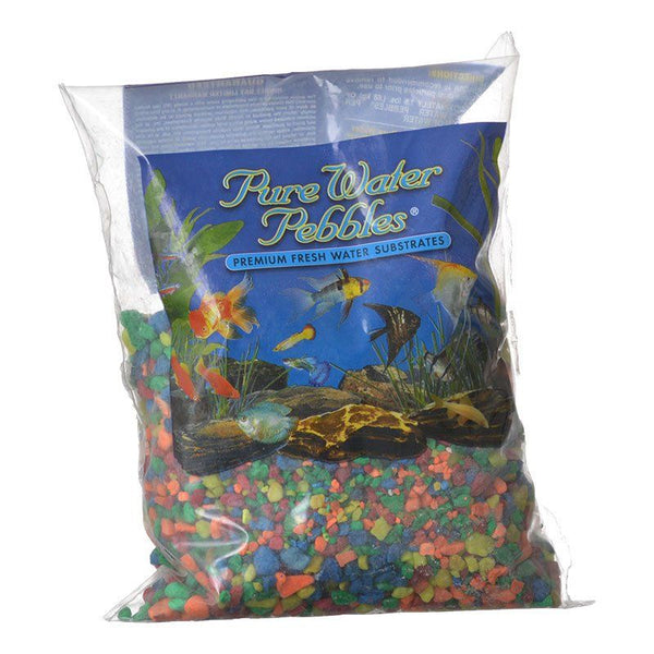 Pure Water Pebbles Aquarium Gravel - Neon Rainbow.