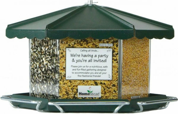 Homestead Triple Bin Seed Feeder Green