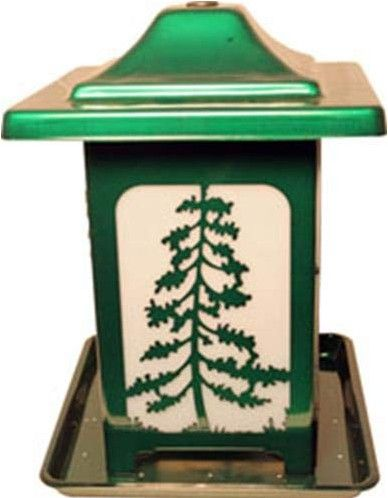 Homestead Woodland Pines Forested Seed Feeder Green.