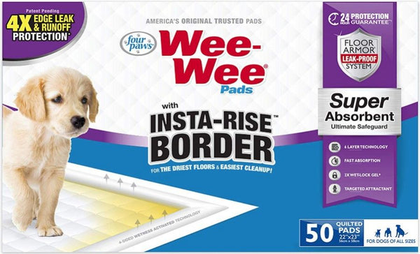 Four Paws Wee Wee Insta Rise Border Quilted Pads - 23 x23