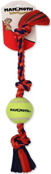 Mammoth Pet Flossy Chews Color 3 Knot Tug with Tennis Ball - Assorted Colors.
