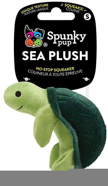 Spunky Pup Sea Plush Turtle Dog Toy.