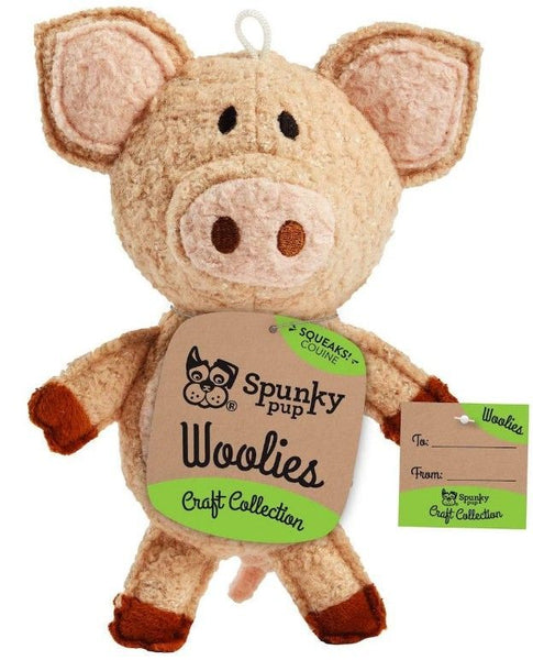 Spunky Pup Woolies Pig Dog Toy.