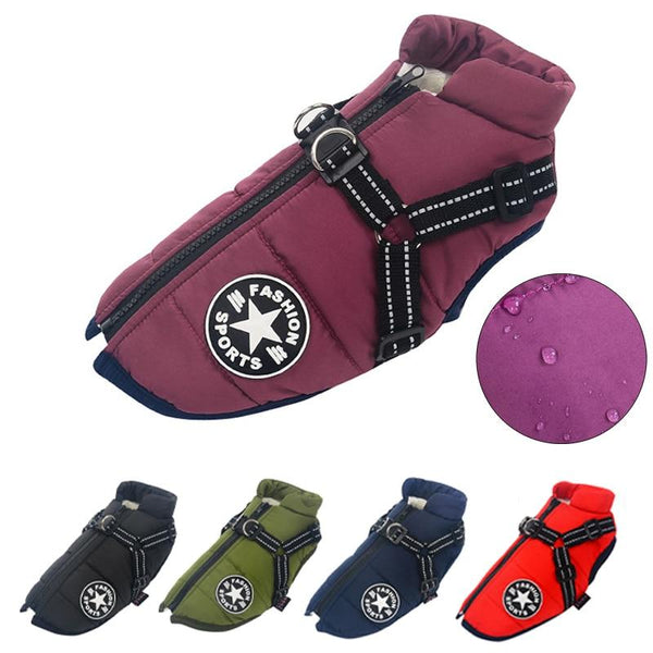 Large Pet Dog Jacket With Harness Winter Warm Dog Clothes Waterproof.