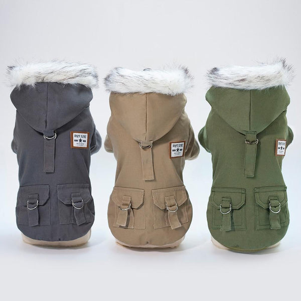Winter Dog Clothes Warm Dog Coat Jacket Hooded Coat Fleece Padded.