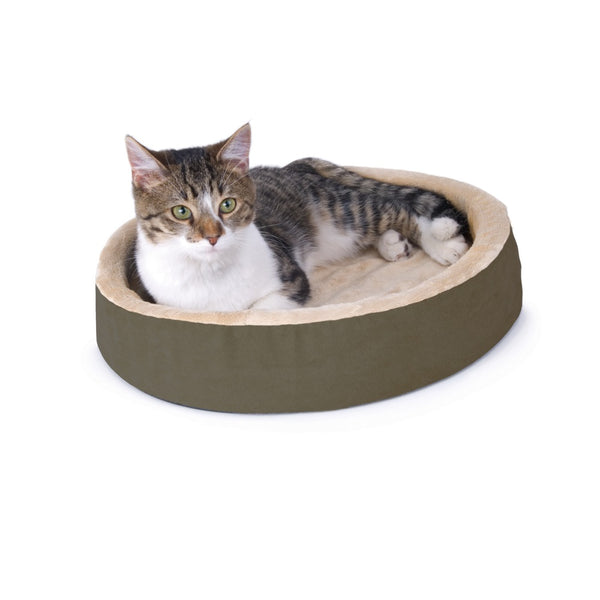 "K&H Pet Products Thermo-Kitty Cuddle Up Bed Mocha 16"" x 16"" x 3"""