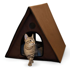 "K&H Pet Products Outdoor Multiple Kitty A-Frame Unheated Chocolate 35"" x 20.5"" x 20"""