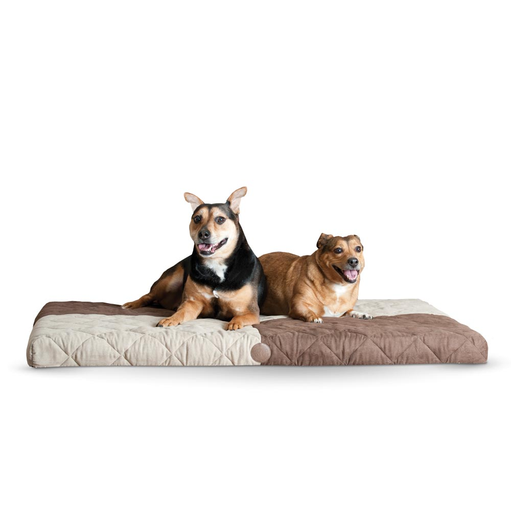 "K&H Pet Products Quilted Memory Dream Pad 0.5"" Large Chocolate / Tan 37"" x 52"" x 0.5"""