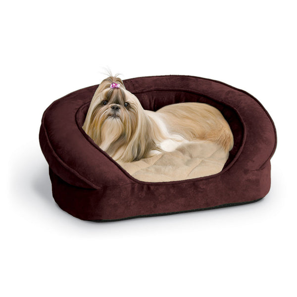 "K&H Pet Products Deluxe Ortho Bolster Sleeper Pet Bed Medium Eggplant 30"" x 25"" x 9"""