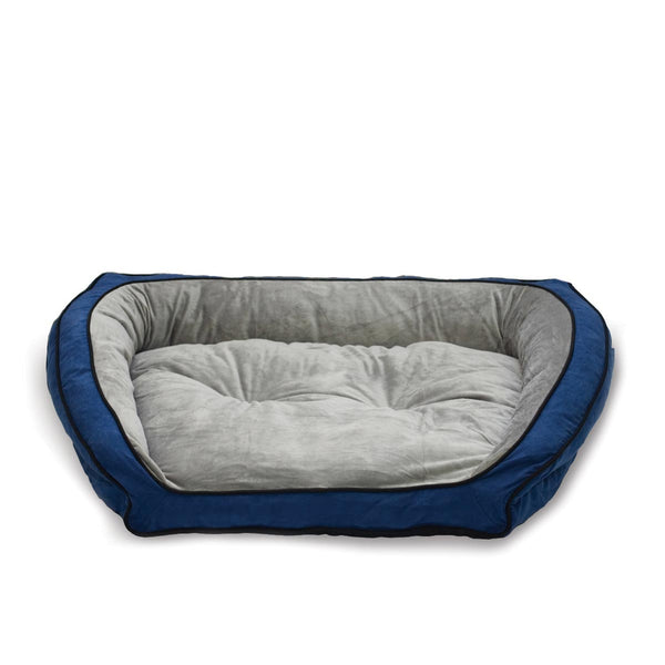 "K&H Pet Products Bolster Couch Pet Bed Large Blue / Gray 28"" x 40"" x 9"""