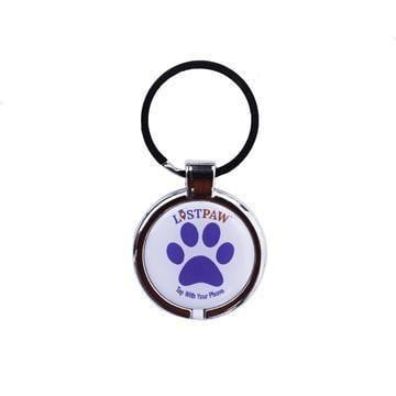 Lost Paw NFC Large Dog Tag Blue and Red waterproof epoxy hanging pet tag that uses NFC to transmit information about your pet when the tag is tapped by a phone.