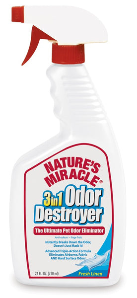 Natures Miracle 3IN1 Odor Destroyer Fresh Linen Scent Trigger Spray 24oz.