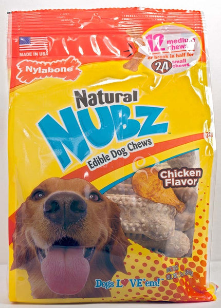 Nylabone Edibles Natural NUBZ Dog Chews Chicken Medium Pouch 12pk.