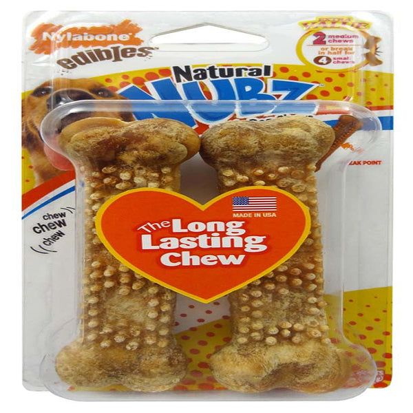Nylabone Edibles Natural NUBZ Dog Chews Chicken Medium 2pk