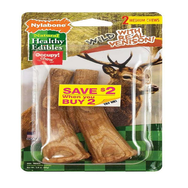 Nylabone Healthy Edibles Edible Antler Real Venison Medium 2pk - Leaderpetsupply.com