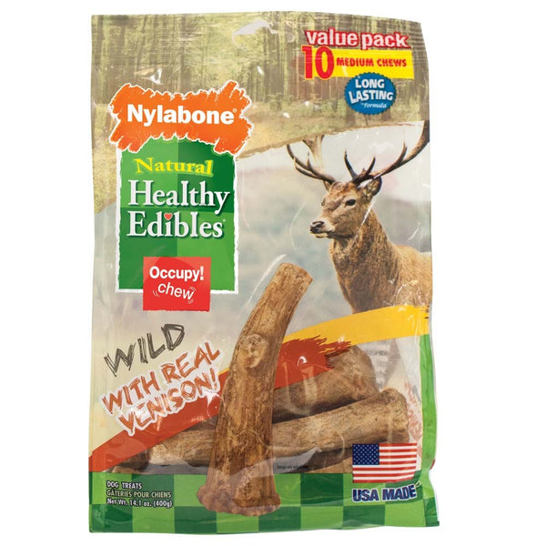 Nylabone Healthy Edibles Edible Antler Real Venison 10pk.