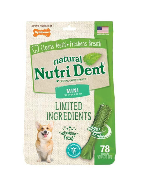 Nutrident Fresh Breath Dental Chew Treat Mini Pouch 78ct - Leaderpetsupply.com