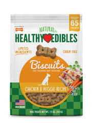 Nylabone Healthy Edibles Biscuits Dog Treats Chicken Peas Carrot 12oz.