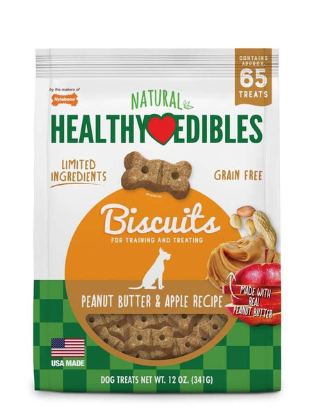 Nylabone Healthy Edibles Biscuits Dog Treats Peanut Butter & Apple 12oz.