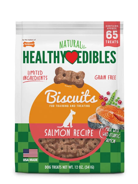Nylabone Healthy Edibles Biscuits Dog Treats Salmon 12oz.