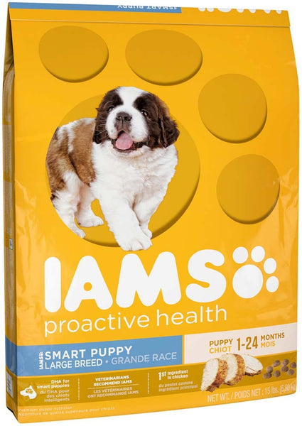 IAMS PROACTIVE HEALTH Smart Puppy Large Breed Dry Puppy Food 15 Pounds.