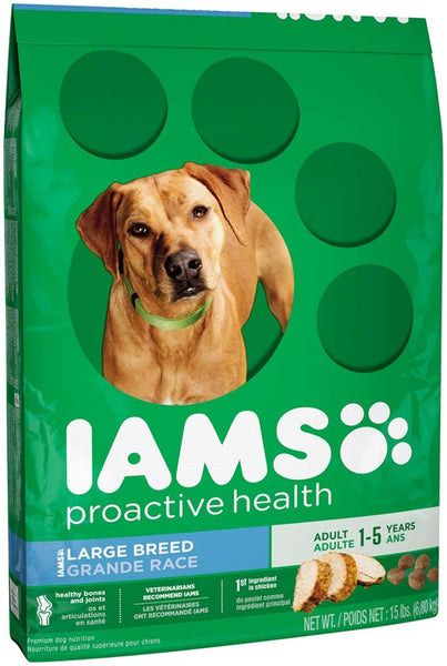IAMS PROACTIVE HEALTH Large Breed Adult Dry Dog Food 15 Pounds.