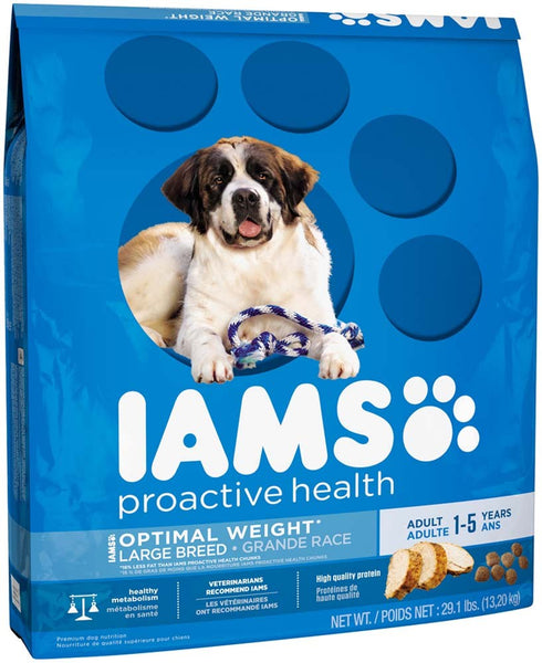 IAMS PROACTIVE HEALTH Large Breed Adult Optimal Weight Dry Dog Food 29.1 Pounds.