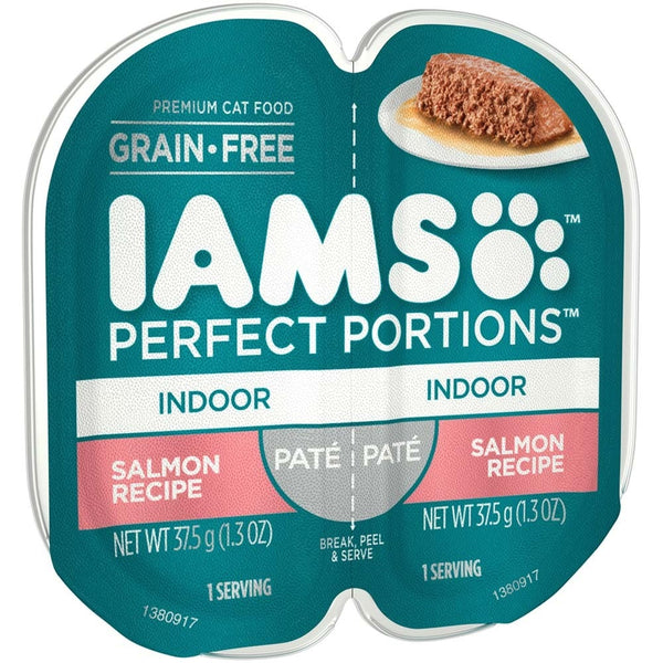 IAMS PERFECT PORTIONS Pate Indoor Salmon Recipe Wet Cat Food Tray 2.6oz (Case of 24).