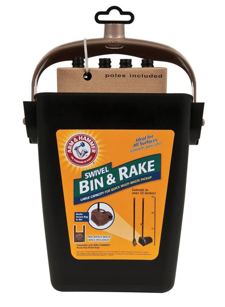 Arm & Hammer Swivel Bin & Rake - Dog - Arm & Hammer - Leaderpetsupply.com
