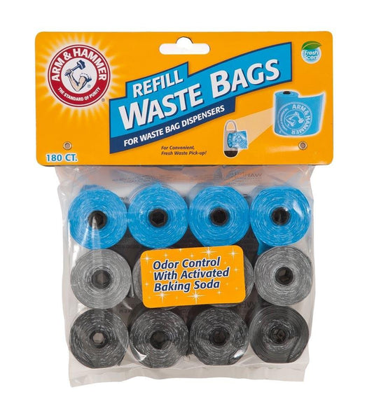 Arm & Hammer Disposable Waste Bag Refills Assorted 180ct - Dog - Arm & Hammer - Leaderpetsupply.com