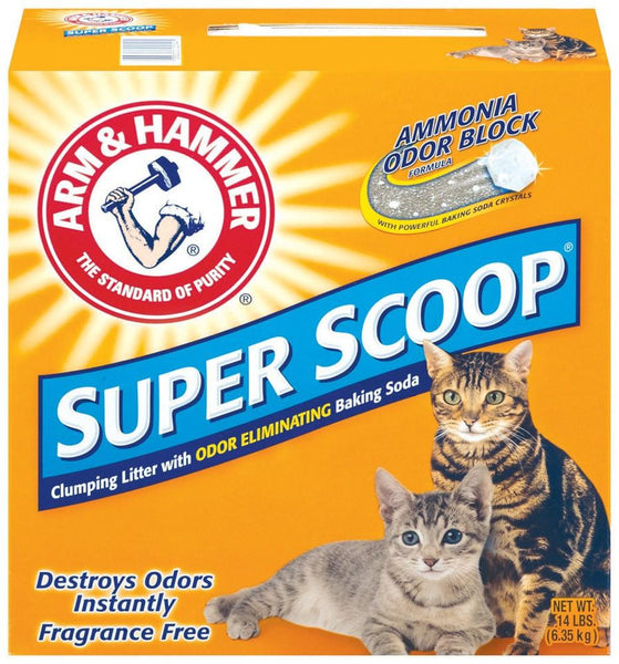 Arm & Hammer Super Scoop Clumping Unscented Litter 14lb-Case of 3 - Cat - Arm & Hammer - Leaderpetsupply.com