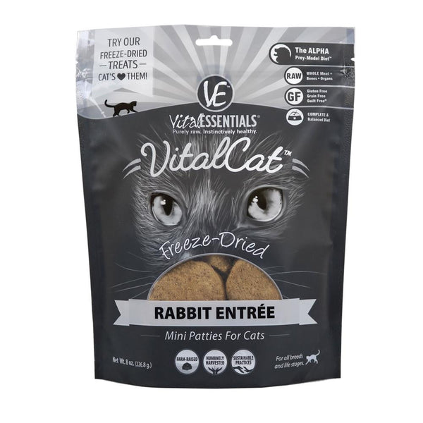 Vital Essentials Cat Freeze Dried Mini Patty Rabbit 8 oz. - Cat - Vital Essentials - Leaderpetsupply.com